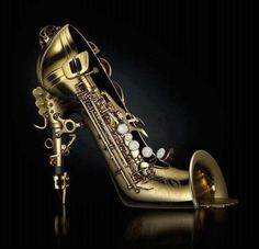 Saxophone shoe with reed heels and bell toes....I wonder who would actually wear this shoe???