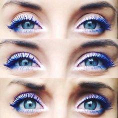 Blue Mascara, Rímel, Makeup, blue and white eyeshadows