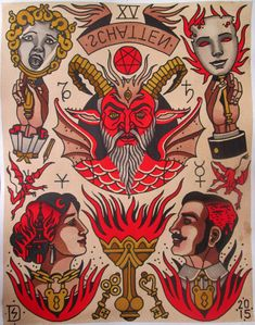 Discover the meaning behind Sailor Jerry's famous old school tattoos, from dragon tattoos to classic skull tattoo designs. Visit our Website for Traditional Tattoo Old School, Traditional Tattoo Design, Traditional Tattoo Flash, Tattoo Drawings, Cool Drawings, Tattoo Ink, Old School Tattoo Designs, Devil Tattoo, Tatuagem Old School