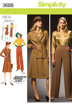 Simplicity Pattern: S3688 Misses' & Plus Size Smart and Casual Wear | Retro 1940s — jaycotts.co.uk - Sewing Supplies