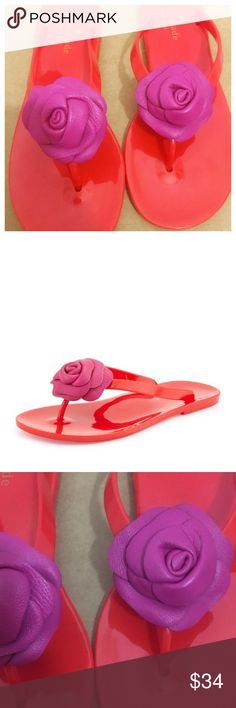 Kate Spade Jelly Red Fayette Sandals Leather Rose Kate Spade New York Fayette Jelly Red Sandals W/ Pink Leather Rose  • Size 8  • Good preloved condition, very mild wear on soles  • Kate Spade New York rubber jelly sandal • Leather flower at center of thong strap • Textured sole for traction • 1/2 inch flat sole kate spade Shoes Sandals