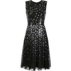 Carolina Herrera sequin dots detailing dress (95.960 ARS) ❤ liked on Polyvore featuring dresses, vestidos, carolina herrera, black, silk dress, polka dot dress, round neck sleeveless dress, back zipper dress and no sleeve dress