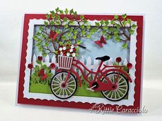 Die Cut Bicycle Scene and Stamp and Scrapbook Expo Shows (KittieKraft)