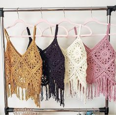 Boho Tank Top pattern by Breann Mauldin I love this fun, funky, fringe-y tank! Crochet Summer Tops, Crochet Crop Top, Crochet Blouse, Crochet Bikini, Diy Outfits, Moda Crochet, Knit Crochet, Doilies Crochet, Diy Kleidung