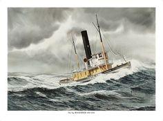 """""""WANDERER IN ROUGH SEAS"""" - Watercolor, in Tugboat Paintings"""
