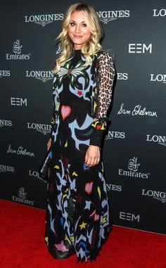 Kaley Cuoco in a patterned leopard-sleeve dress