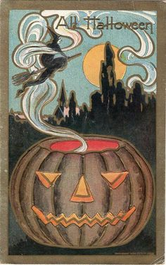 Shop Pumpkin Jack O Lantern Witch Full Moon Postcard created by kinhinputainwelte. Personalize it with photos & text or purchase as is! Halloween Puzzles, Halloween Clown, Halloween Parade, Halloween Greetings, Retro Halloween, Holidays Halloween, Halloween Themes, Happy Halloween, Halloween Decorations