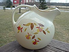 Hall Jewel Tea Ball Pitcher Mary Dunbar Gold Accents Mint. Click the image for more information.