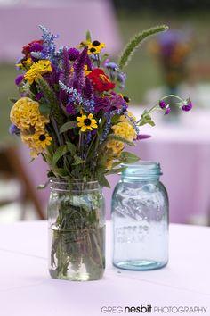 Wildflower Mason Jar  table centerpiece | Greg Nesbit Photography www.gregnesbit.com