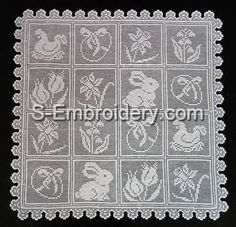 10405 Free standing lace Easter crochet squares