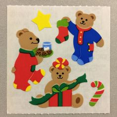 Sandylion Christmas Teddy Bears Candy Cane Presents Stockings Stickers Retro Rare Vintage Phone Stickers, Cute Stickers, Flower Garden Drawing, Design Campaign, Christmas Teddy Bear, Diy Sewing Projects, Cute Friends, Aesthetic Stickers, Kids Prints