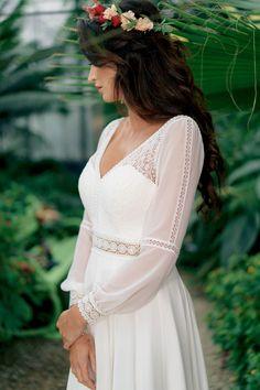 Big Wedding Dresses, Wedding Dress Chiffon, Luxury Wedding Dress, Wedding Dress Sleeves, Elegant Wedding Dress, Boho Wedding, Bridal Sari, Bridal Gowns, Custom Dresses