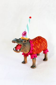 "Party Animal ""Alyson"" The Hippo- painted carnival, circus, and birthday decor on Etsy, $19.00"