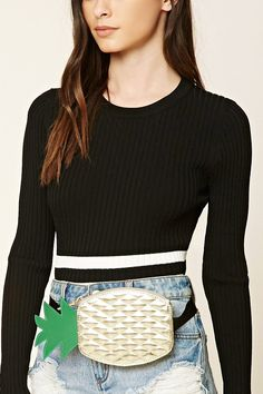 A faux leather fanny pack featuring a quilted pineapple shape with a metallic sheen, a protruding leaf top, a zipper top closure, and an adjustable push-lock belt.