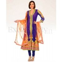 #Exclusively.in, #Indian Ethnic wear, Ink Blue Jaamawar Embellished Kalidar Suit