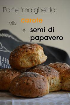 Pane margherita alle carote e semi di papavero Pizza, Baked Potato, Muffin, Baking, Breakfast, Ethnic Recipes, Food, Breads, Savory Muffins