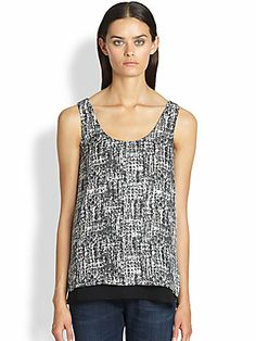"""Vince Printed Double-Layer Silk Tank worn on Scandal episode 315 """"Mama Said Knock You Out. Olivia Pope Style, Virtual Closet, Saks Fifth Avenue, Work Fashion, Scandal, Ms, Layers, Blouses, Silk"""
