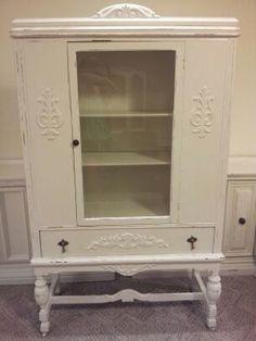 Vintage Distressed China Cabinet Linen closet storage closet Shabby chic cottage display cabinet