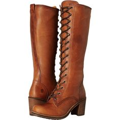 Frye Karen Lace Up Tall (Cognac Washed Oiled Vintage) Women's Lace-up... ($343) ❤ liked on Polyvore featuring shoes, boots, brown, knee-high boots, knee high boots, knee-high lace-up boots, leather work boots, chunky heel knee high boots and tall leather boots
