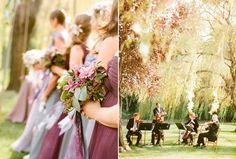 outdoor-garden-wedding-ceremony-purple-bridesmaids-dresses-music ...