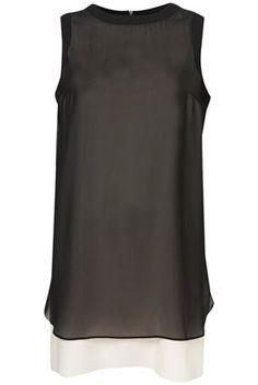 chiffon overlay shift dress