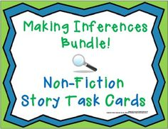 A bundle of inferencing fun for your kids!  Fascinating non-fiction story task cards with inferencing questions and worksheets, teacher support materials including answer keys, data charts. $
