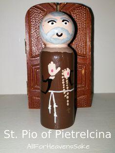 St Pio (Padre Pio) peg doll