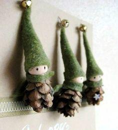 DIY karácsonyi toboz díszek, Meska