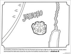 Kids coloring page from What's in the Bible? featuring Jericho in the Promised Land from Joshua 6. Volume 4: Battle for the Promised Land.
