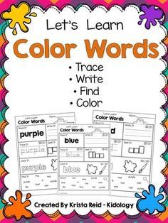 Color Word Practice Pages! This set of practice pages includes 10 worksheets. Each worksheet features one color word. The words included in this pack are Red Blue Green Yellow Orange Purple Pink White Black Brown Grey ( there is a second page with the alternate spelling of gray included as well) Each of the pages asks students to read, write, trace, color and find the color words.