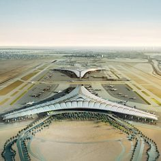 Foster + Partners have unveiled designs for an new international airport in Kuwait... Lord knows they need one. Each terminal will have three symmetrical wings, with each facade spanning 1.2 kilometers. The airport will accommodate 13 million passengers a year, with the possibility to expand for 50 million passengers. Now if they only upgrade their immigration system they may have something.