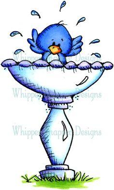 Birdie Bath - Birds - Animals - Rubber Stamps - Shop