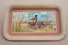 vintage metal trays w/ pheasants game birds, retro TV tray set, mancave style! Vintage Tv Trays, 50s Vintage, Vintage Metal, Unique Vintage, Tv Tray Set, Laurel Leaves, Metal Trays, Game Birds, Bird Prints