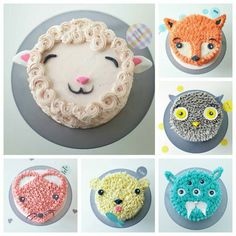 Animal Cakes Ideas Super Easy Video Instructions You'll love these Animal Cakes Ideas that include fox, raccoon, hedgehog, owl to name a few. You'll love the inspiration and we have a video tutorial too. Cake Cookies, Cupcake Cakes, Kid Cakes, Easy Kids Cakes, Easy Owl Cake, Cupcake Frosting, Buttercream Cake, Cute Cakes, Sprinkles