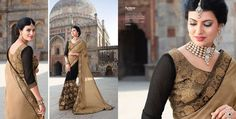 Golden georgette with embroidery work party wear saree