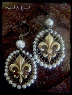 An Inherent Grace Earrings Jewelry Mixed Metal by ferdandbird, $45.70 Mixed Media Assemblage Wire Wrapped Ferd & Bird