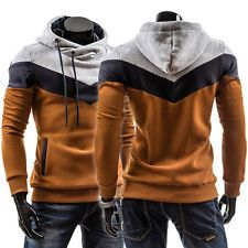Stylish Mens Casual Slim Fit Stripe Color #Hooded Top Jackets Coats Warm Hoodies