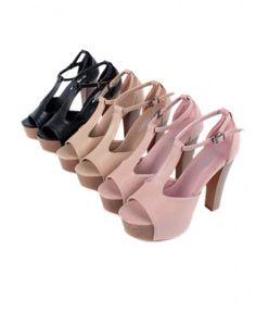 T-bar Platform Heeled Sandals