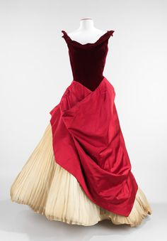 Pink, burgundy, and white Charles James ball gown, 1953