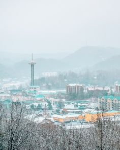 A snowy Gatlinburg San Francisco Skyline, Paris Skyline, Mountains, Winter, Travel, Winter Time, Viajes, Traveling, Trips