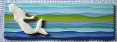 Summer Kate Studio - Ceramic Tiles Mermaid swimming - 12x3 inches ©Kathleen Farrell, Summer Kate Studio