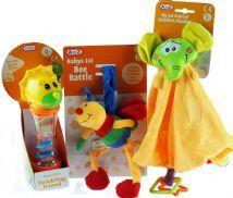 New Baby 3 Piece Gift Set - Bee Rattle, Tumbling Toy, Animal Comfort Blanket
