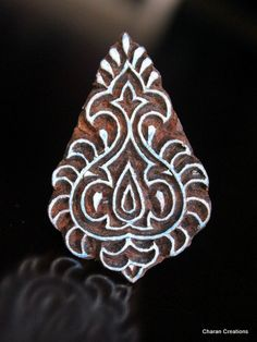 Hand Carved Indian Wood Textile Stamp Block- Baroque Design via Etsy
