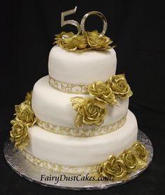 Gold Wedding Anniversary Cake