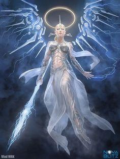 Elemental Angel – illustration for Nova Blitz by VladMRK (Vlad… Fantasy Women, Fantasy Girl, Dark Fantasy, Fantasy Characters, Female Characters, Engel Illustration, Guerrero Dragon, Character Inspiration, Character Art