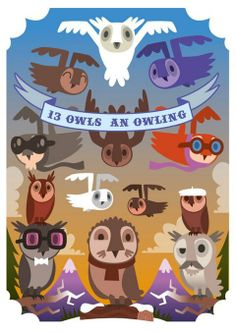13 owls an owling by pete fowler. Elephant, Branding, Cool Stuff, Owls, Illustration, Projects, Anime, Advertising, Painting