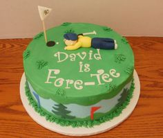 "40th birthday for a golfer - This is a 10"" yellow cake with buttercream icing.  Fondant golfer, flags, trees, letters and putter.  Inspired by all the wonderful golf cakes on CC."