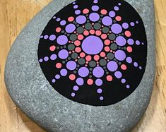 Medium Hand Painted Mandala Stone