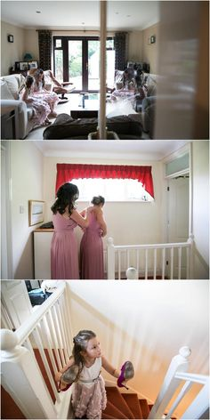 Flower girls sitting in living room waiting, bridesmaids getting ready, flower girl coming up stairs with shoes on her hands Bridesmaid Getting Ready, Groom Getting Ready, Wedding Photography Tips, Documentary Wedding Photography, Natural Light Photography, Flower Girls, Bride Groom, Bridesmaids, Ted