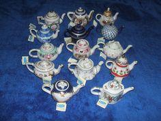 Miniature Collectable Teapot Porcelain Art With Tags British - Bundle/Indivi Ebay Sale, Teapot, Vintage Items, Porcelain, British, Miniatures, Christmas Ornaments, Tags, Holiday Decor